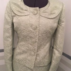 Mint julep brocade suit size 6p by Le Suit petite